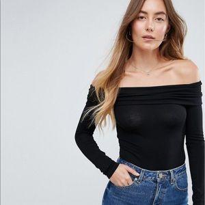 ASOS Foldover Long Sleeve Off the Shoulder, Size 6